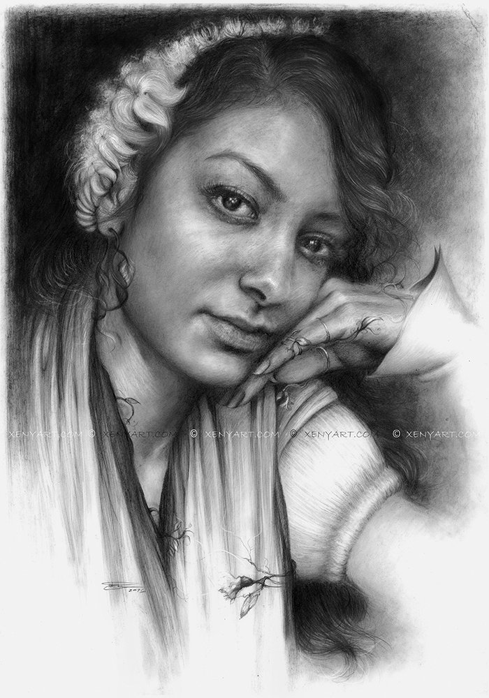 portrait of a woman. drawing. art. flowers, white dress