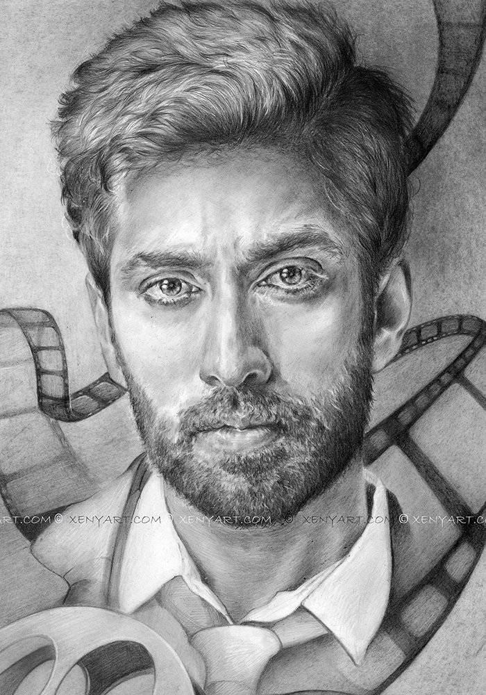 portrait of an actor. nakuul mehta. drawing. art. cinema