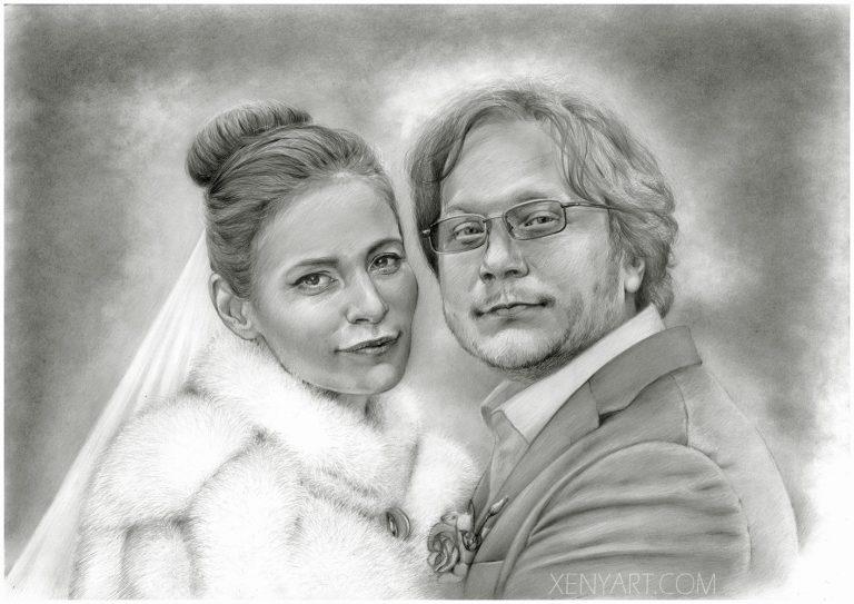 couple. portrait. wedding. art. sketch custom