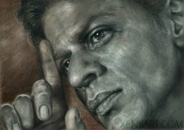 mix media. art painting, artwork. bollywood. SRK