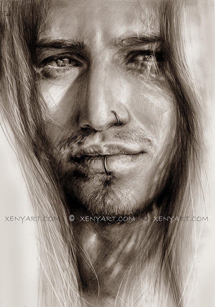 portrait of a male model. long hair. drawing. art. artist